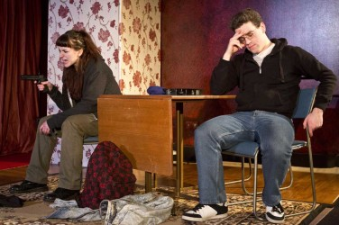 Clare Ross as Caitlin with Des O'Gorman as Marty in David Hutchison's Too Long The Heart at Malmaison, Leith