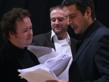 Calum Beaton, Mark Kydd & James Watson in the rehearsed reading of 'King Arthur' 2008 by Lucy Nordberg