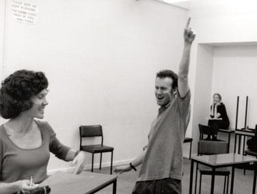 Cheryl Anderson & Silas James in rehearsals for 'Measure for Measure' 2000