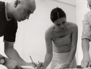 Chris Brooklyn and Tanya Hossick in rehearsals for 'Measure for Measure' 2000